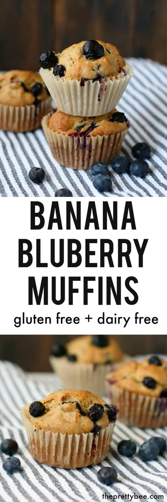 Delicious gluten free and dairy free banana blueberry muffins - a great breakfast or snack!