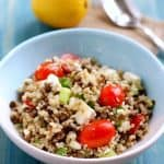 Lentil Quinoa Salad with Feta Cheese.