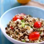 Lentil quinoa salad with feta cheese is a great summer side dish!