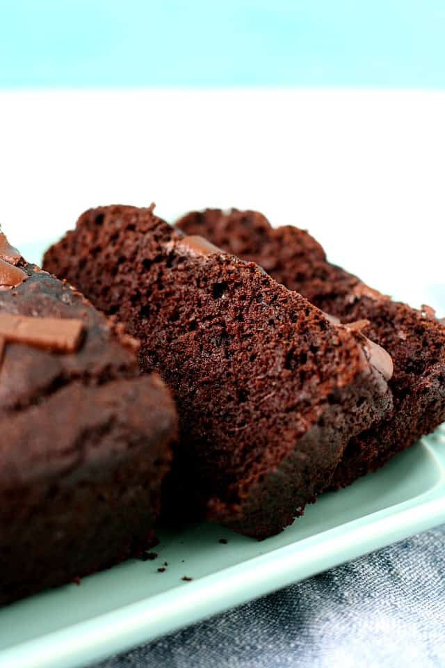 sliced gluten free chocolate zucchini loaf