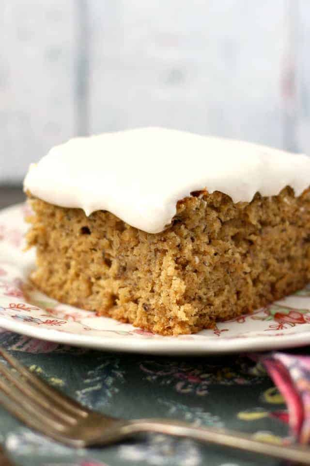 Banana Cake With Cream Cheese Frosting Gluten Free The Pretty Bee