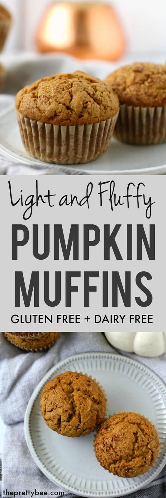 The perfect fall recipe - enjoy these gluten free pumpkin muffins with a cup of hot tea or cider for a perfect treat! These are light, fluffy, and delicious! #glutenfree #dairyfree #pumpkin