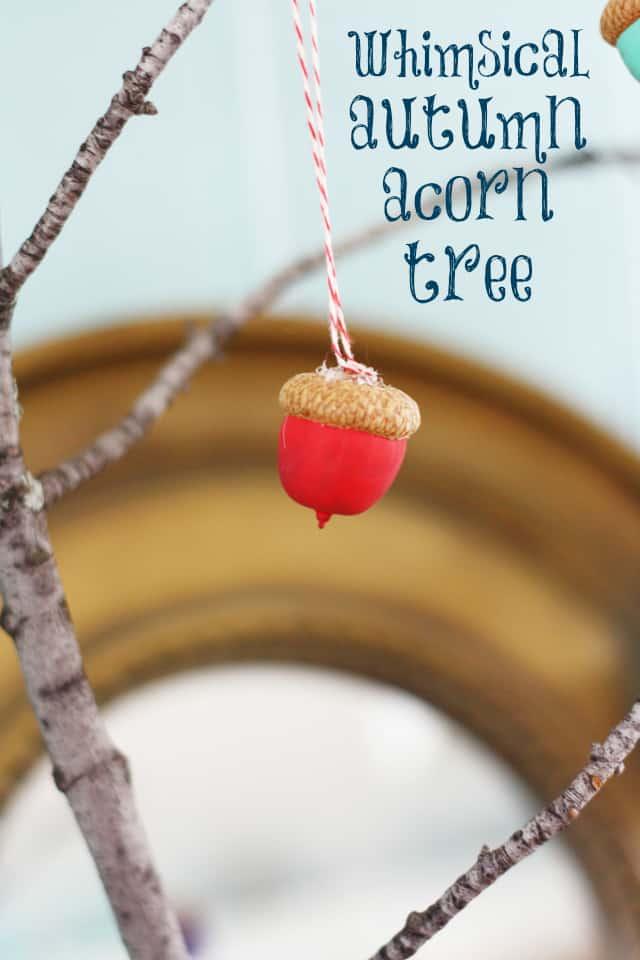 An easy fall craft - a cute painted acorn tree. #fall #acorn #autumn