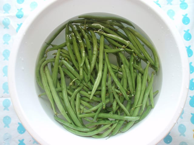 fresh green beans in water