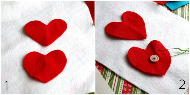 how to make felt heart ornaments