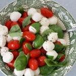 A classic summer salad - tomato and mozzarella caprese salad. Gluten Free.