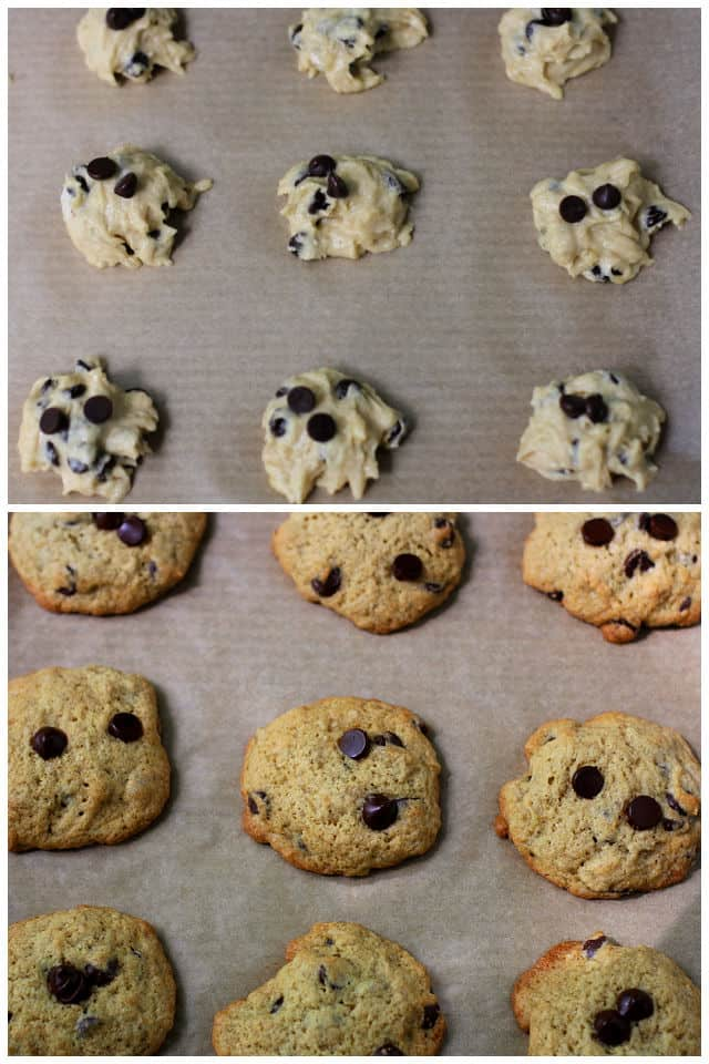 gluten free banana cookie dough on a cookie sheet before and after baking