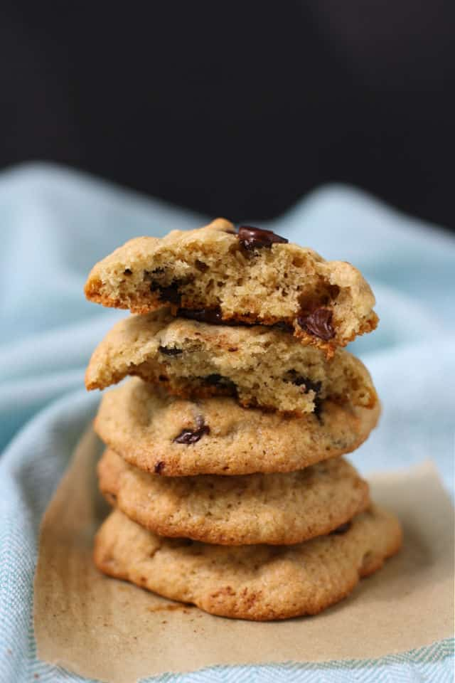 stack of chocolate chip banana cookies with a view of the inside texture