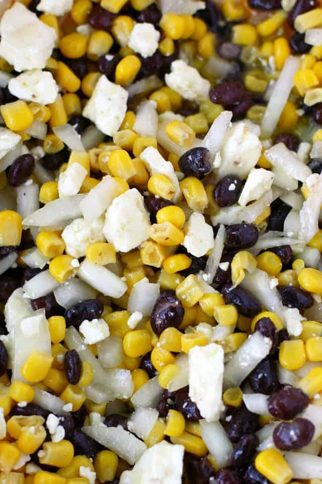 Feta cheese, corn, and bean dip