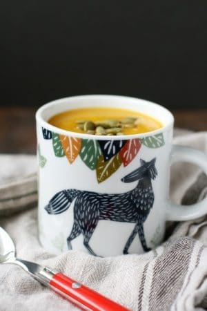 An easy and delicious recipe for dairy free butternut squash soup. Perfect for fall and winter!