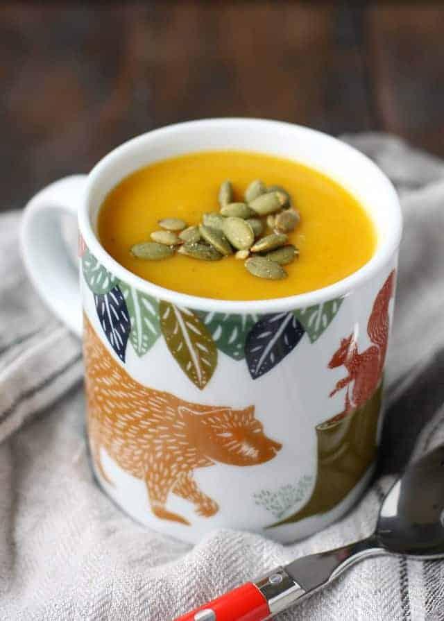 mug of dairy free butternut squash soup