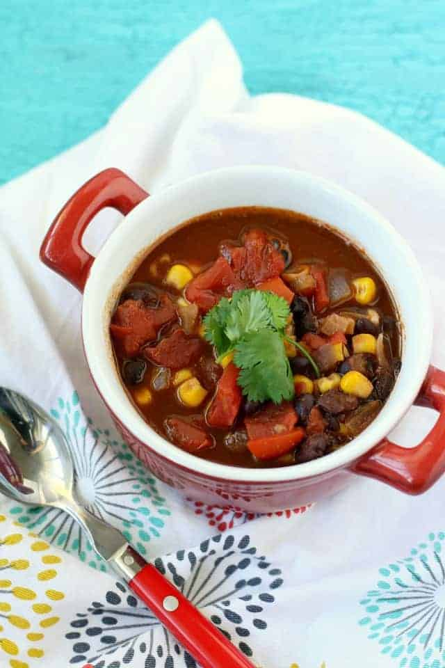 Quick and easy vegan black bean soup recipe