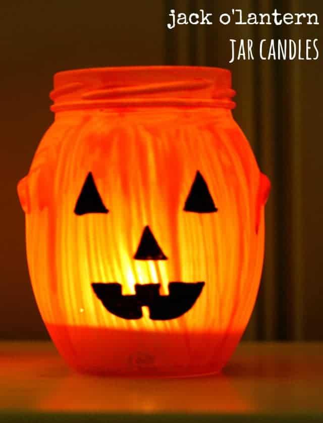 Super simple painted jack o'lantern jar candles. An easy fall craft. #halloween #jackolantern #craft #jar