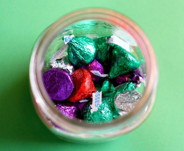 hershey kisses in a jar