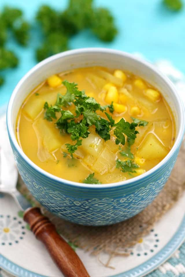 A hearty potato and corn chowder is an easy meal that's dairy and gluten free!