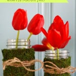 Very easy and fresh looking vases made with just upcycled glass jars, moss, and twine.