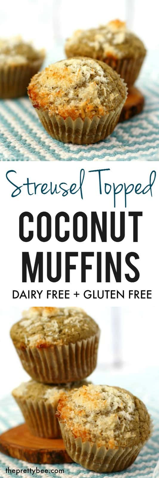 Gluten free dairy free muffins are topped with a crunchy streusel topping