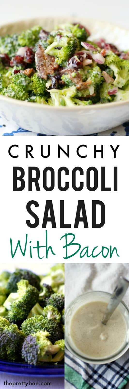 A favorite side dish, this crunchy broccoli salad with bacon is a delicious combination of sweet, salty, and crunchy! #glutenfree #dairyfree #nutfree #salad #broccoli #grainfree
