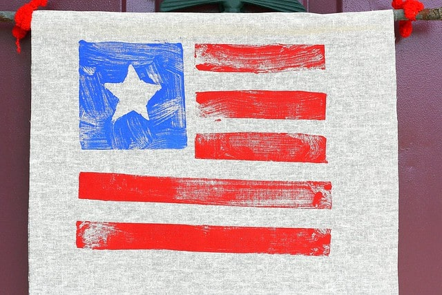 close up of flag banner craft