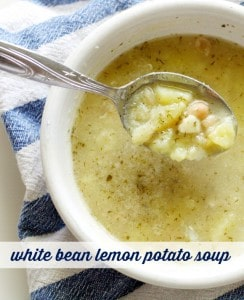 Warm and comforting white bean, potato, lemon, and dill soup. The perfect light and healthy soup for fall! #glutenfree #vegan