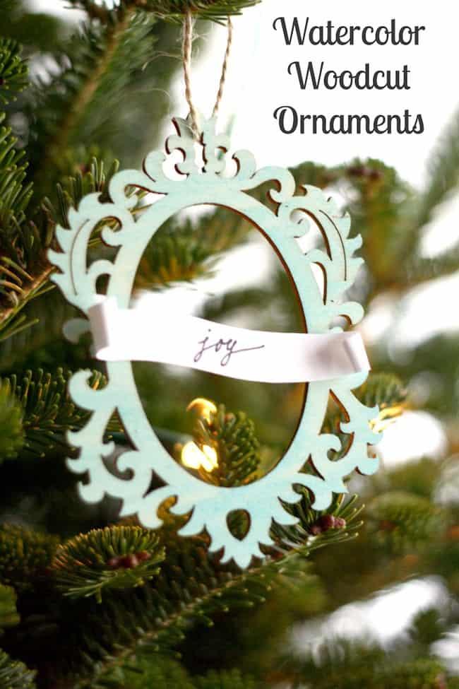 woodcut watercolor ornaments