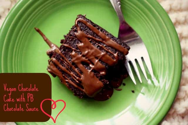 Make this delicious vegan chocolate cake with a warm chocolate peanut butter sauce - so good with vanilla ice cream!