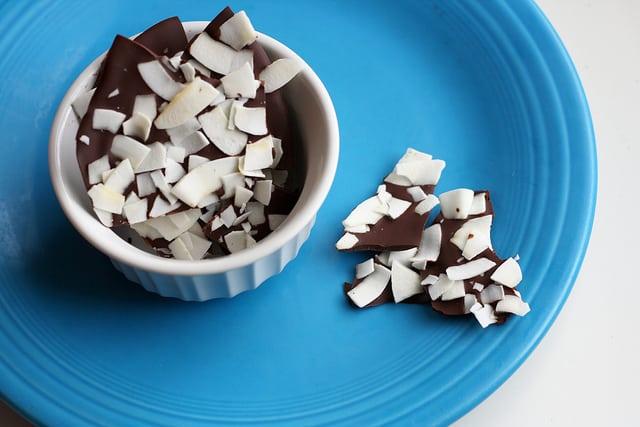 dark chocolate coconut bark pieces