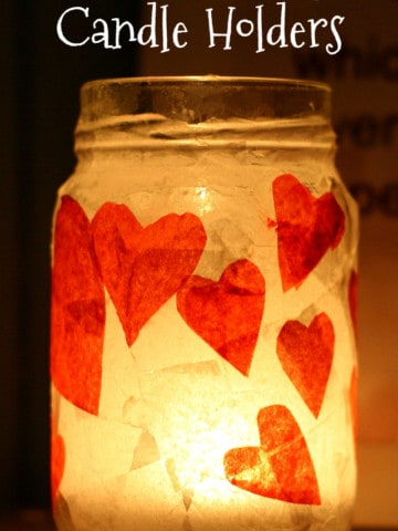 A super simple Valentine's Day craft - candle holders made from recycled jars and tissue paper hearts. #valentinesday