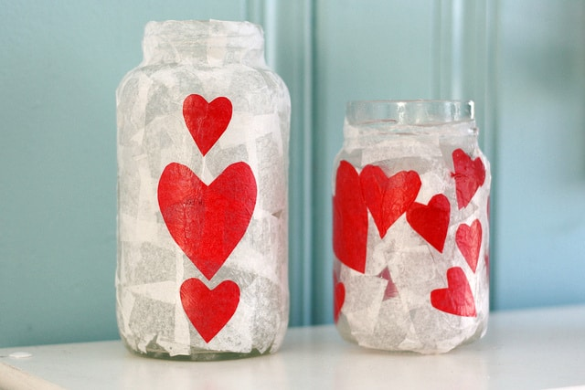 Easy heart candle holders - a simple craft for Valentine's Day!