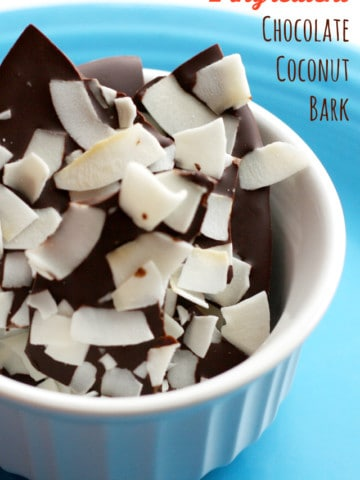 In the mood for something decadent Make this 2 ingredient chocolate coconut bark! Easy and delicious. #vegan #dairyfree