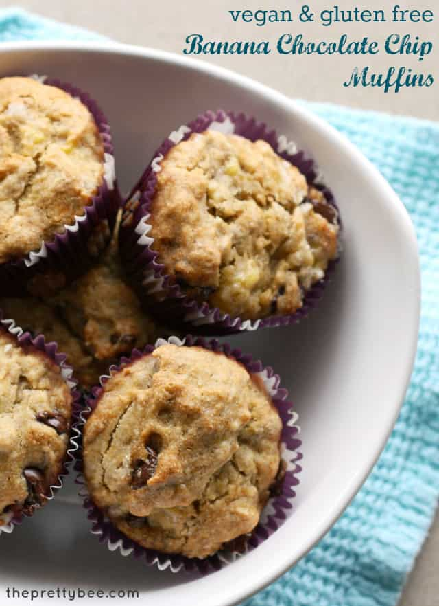 Chocolate chip banana muffin recipe - easy to make and #glutenfree and #vegan.