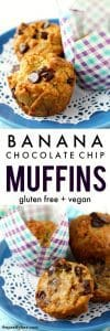 Delicious and easy to make gluten free banana chocolate chip muffins. These are loved by kids and adults!