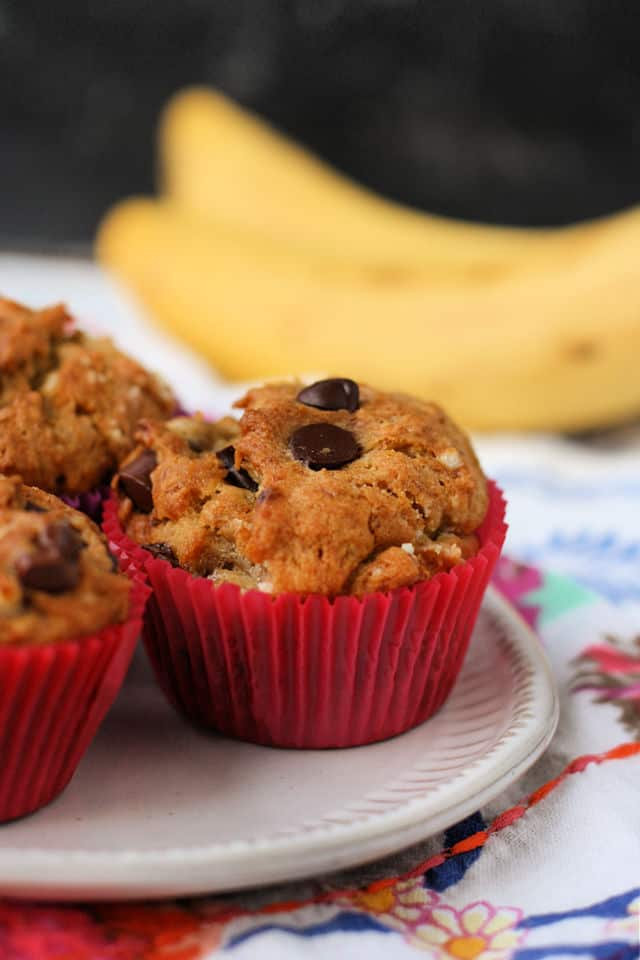 gluten free banana muffins on a white plate