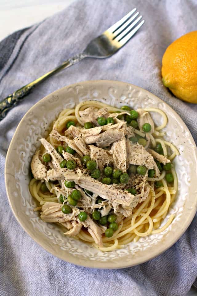 lemon pasta with chicken and peas
