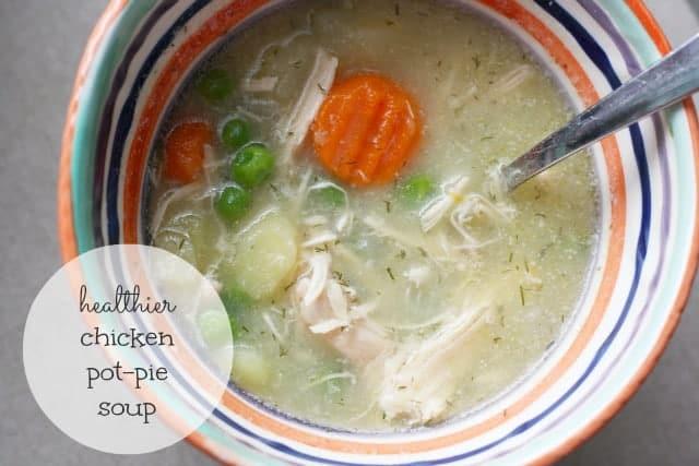 A lighter, healthier chicken pot pie soup! #dairyfree #glutenfree