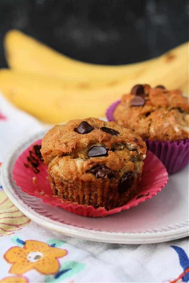 vegan gluten free banana muffins on a white plate