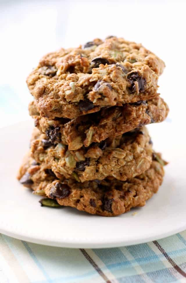 stack of vegan oatmeal cookies with chocolate chips on a small plate
