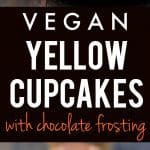Light, fluffy, and delicious vegan yellow cupcakes. These are so yummy when topped with creamy chocolate frosting!
