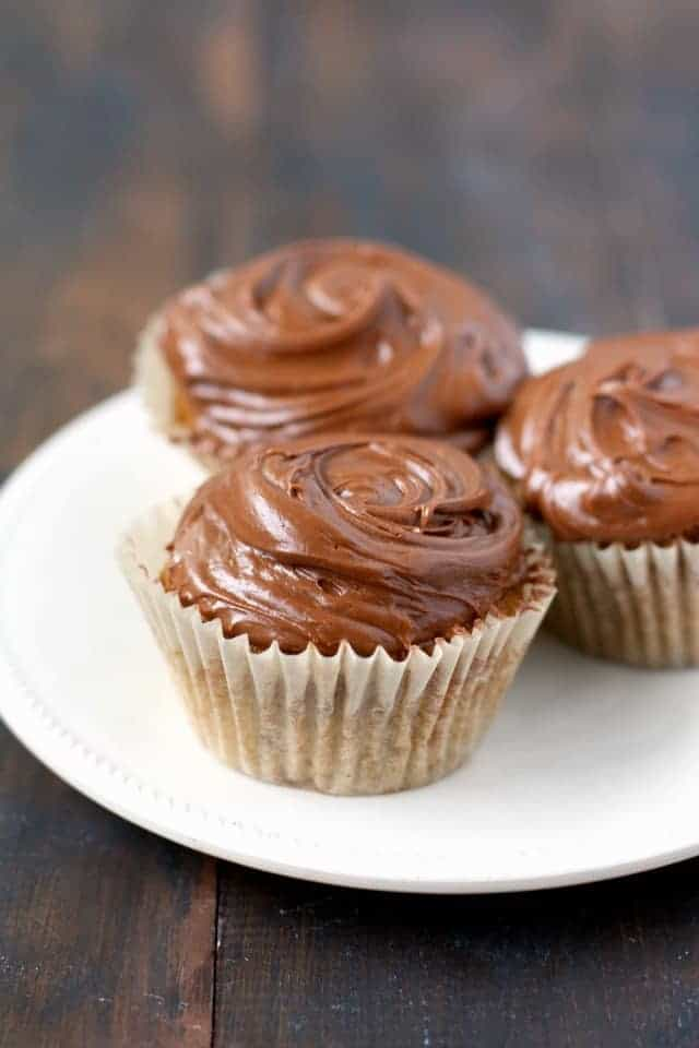 vegan yellow cupcakes with chocolate icing