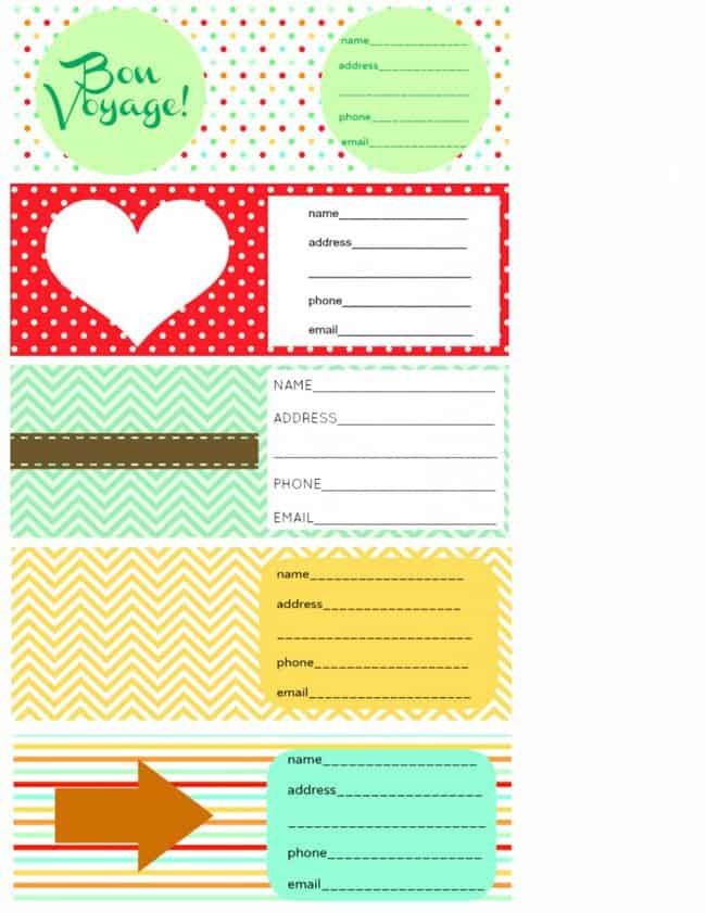 graphic about Printable Luggage Tag called Printable Baggage Tags and Packing Listing. - The Lovely Bee