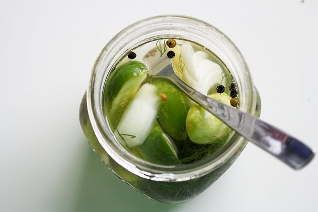refrigerator dill pickles in glass jar