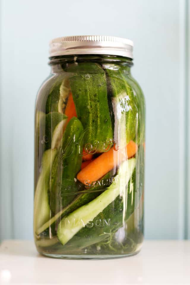 Zesty dill refrigerator pickles. Make these easy and delicious refrigerator pickles this summer!