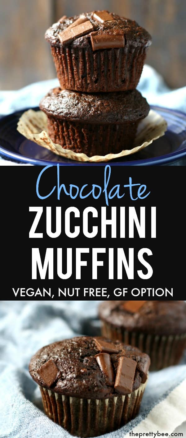 Easy vegan chocolate zucchini muffin recipe - these are so light and fluffy, and a great way to use up your garden zucchini! #vegan #dairyfree #nutfree #chocolate #zucchini