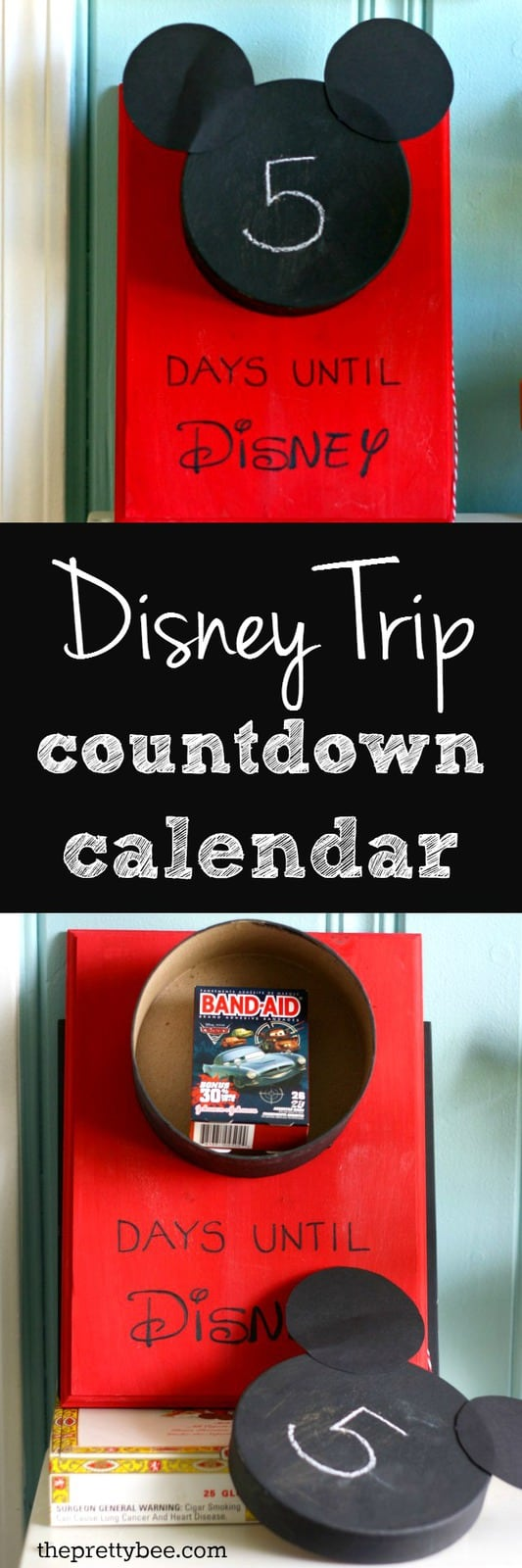 Count the days until your big Disney trip with this Disney World countdown calendar! An easy and fun way to look forward to your vacation. #Disney #vacation #travel #craft