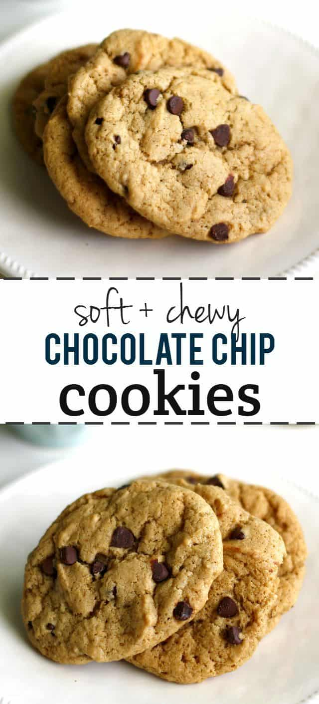 These soft and chewy chocolate chip cookies have a rich flavor from dark brown sugar and maple syrup. They remind me of the Keebler Soft Batch cookies I used to love! Vegan cookie recipe.
