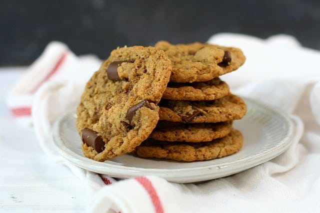stack of vegan chocolate chip cookies on a plate