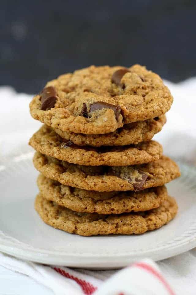 stack of vegan chocolate chip cookies