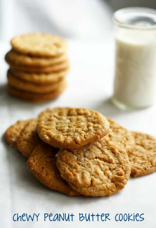 Delicious and chewy vegan and gluten free peanut butter cookies.