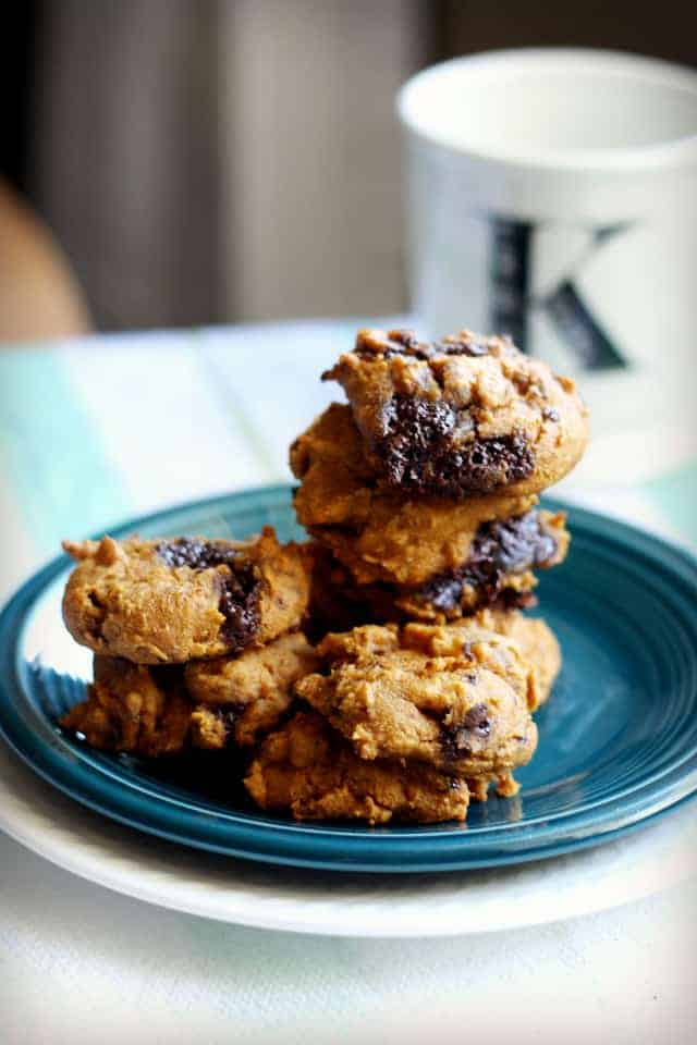 gluten free four ingredent pumpkin chocolate chunk cookies