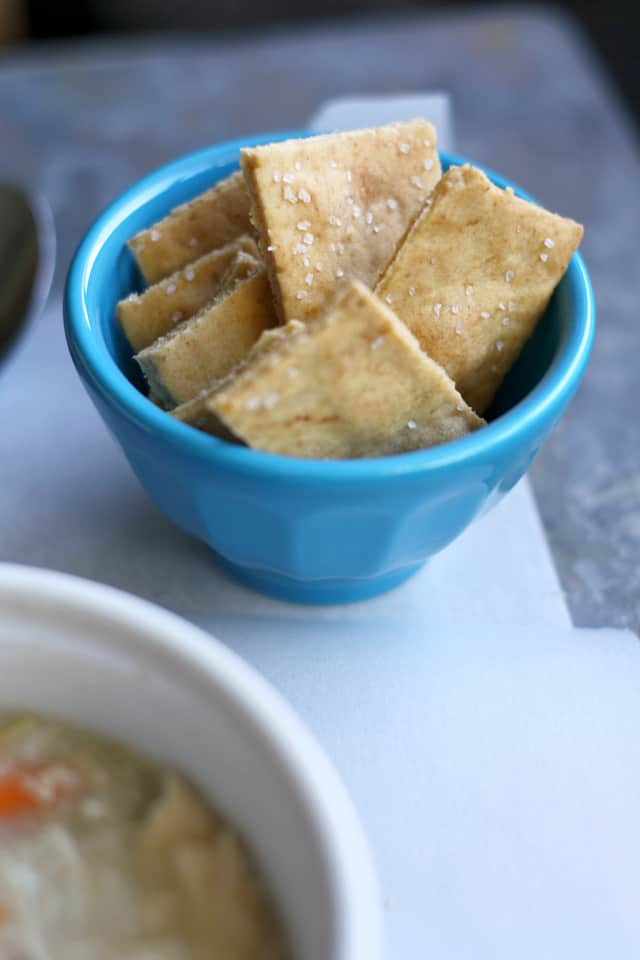 chicken rice soup and gluten free crackers